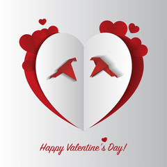 Paper heart with birds. Valentine cart. Vector