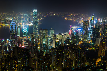 Nightview from Victoria Peak in Hong Kong (香港 ビクトリアピーク夜景)