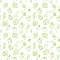 Hand drawn vegetable pattern.