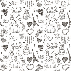 Hand drawn wedding seamless pattern.