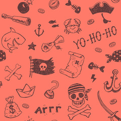 Hand drawn pirates seamless background.