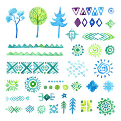 Hand drawn elements set for ethnic pattern, tribal  background.