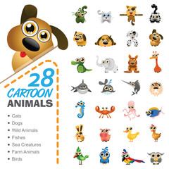 Big set of various cartoon animals and birds