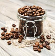 glass jar full of coffee beans