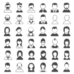 Black and White User Icons
