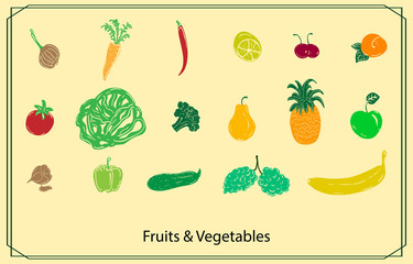 set of colored fruits and vegetables in frame