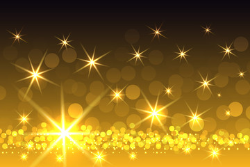 Yellow Sparkling Starburst Christmas Background