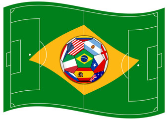 football field looks like Brazil flag with ball