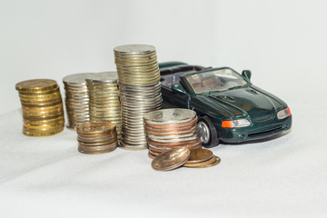 Car, money, white background. Opportunities.