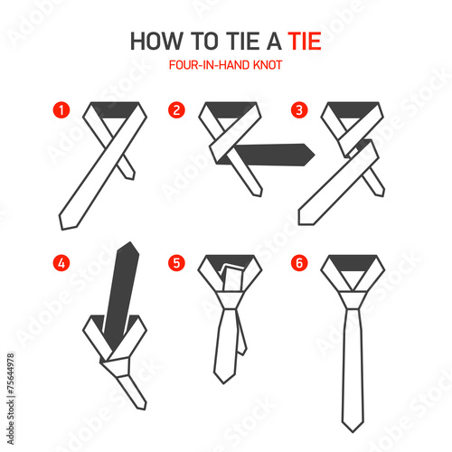 "How to tie a tie instruction, four-in-hand knot"" stock image and."