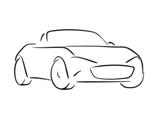 Vector sketch of a roadster sports car