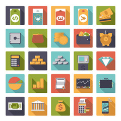 money and finance icons set, rounded squares, flat design
