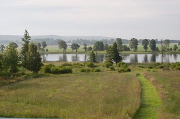 Green landscape by Gota Alv, Vanersborg in southwestern Sweden