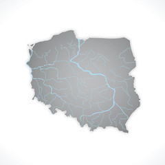 Map of Poland 3D, polish rivers