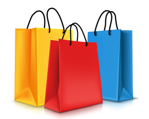 Set of Colorful Empty Shopping Bags Isolated