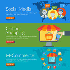 concept for social media, online shopping and m-commerce