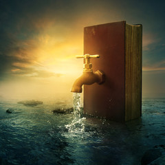 Fototapete - Book and faucet
