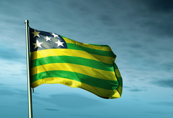 Goias (Brazil) flag waving on the wind