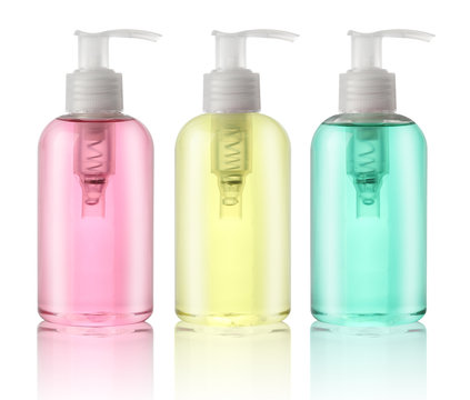 Three bottles of liquid soap isolated on white