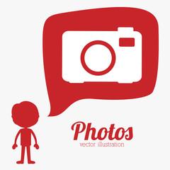 Camera design over red background vector illustration