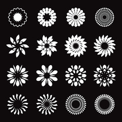 Set of white geometric flowers, stars and graphic elements
