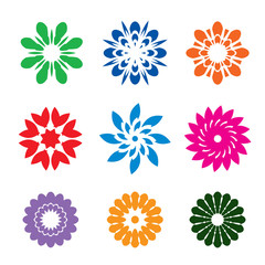 Set of color geometric flowers, stars and graphic elements