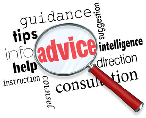 Advice Magnifying Glass Words Guidance Tips Help Information Sup