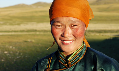 Beautiful Young Mongolian Lady Late Afternoon Concept Fototapete