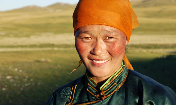 Beautiful Young Mongolian Lady Late Afternoon Concept