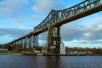 Railway bridge over kiel canal in Rendsburg, Germany