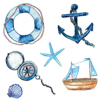 Nautical watercolor design elements