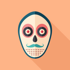 Hipster mask with mustache flat square icon with long shadows.