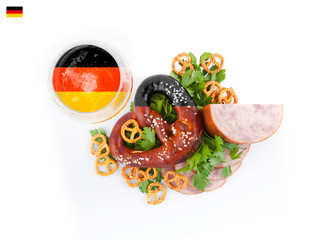 German national dish. Flag colors.