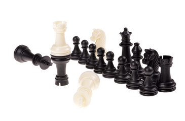 Chess game. Black and white chess piece. Isolated