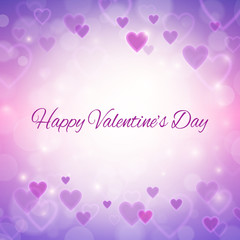 Happy Valentines day greeting card with hearts and lights