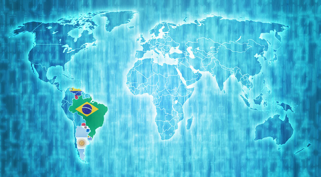 Mercosur territory on world map