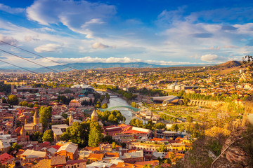 Wall Mural - Beautiful panoramic view of Tbilisi at sunset