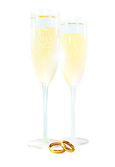 Two glasses with champagne and ring