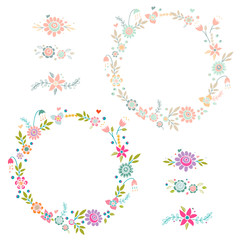 Vintage set of floral frames and compositions.