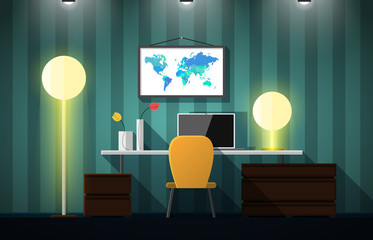 Flat design vector illustration of modern creative office