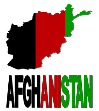 Afghanistan map flag and text illustration
