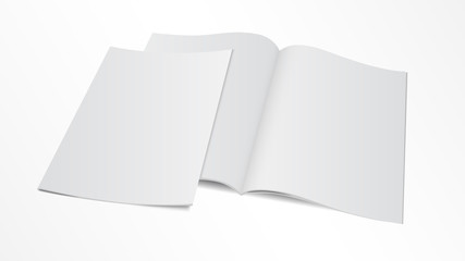 blank opened magazine template with cover Wall mural