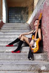 Bass guitar woman