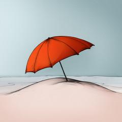 Sonnenschirm im Sand