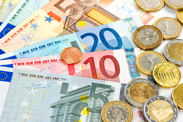 euro currency. coins and banknotes. cash money