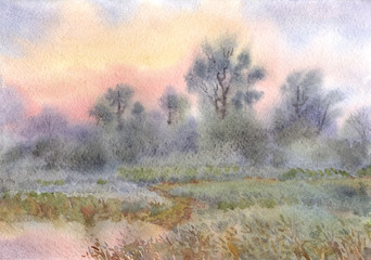 Watercolor landscape. Sunrise over the woods and meadows around