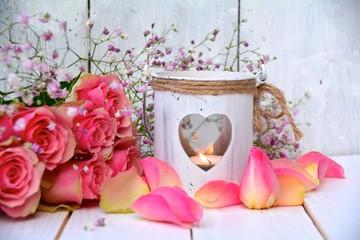 Grußkarte - Rosen und Laterne