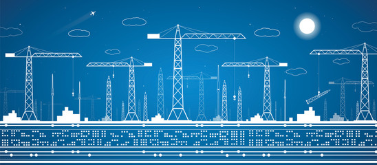 Construction panorama, industrial landscape, building cranes