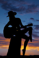 silhouette of a woman with a guitar look back