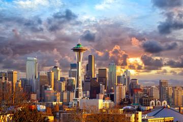 Seattle skyline at sunset, WA, USA Wall mural